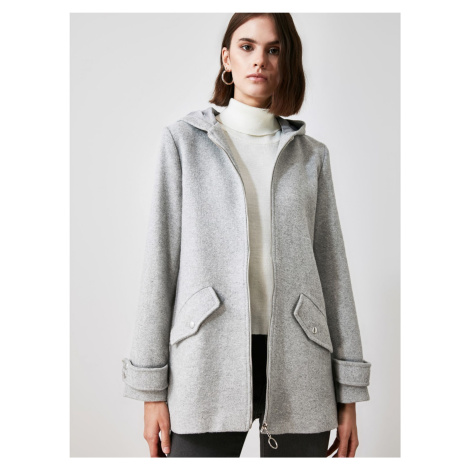 Trendyol šedá bunda s kapucí