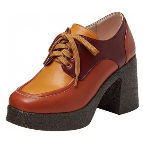 Vícebarevné boty z ovčí kůže šněrovací polobotky na podpatku