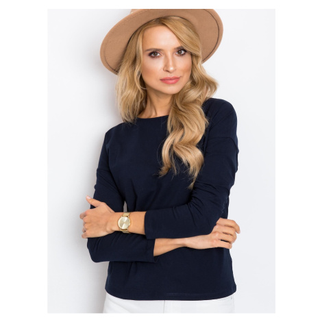 Navy blue blouse with long sleeves Fashionhunters