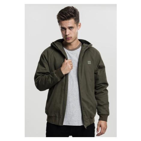 Hooded Cotton Zip Jacket - dark olive Urban Classics