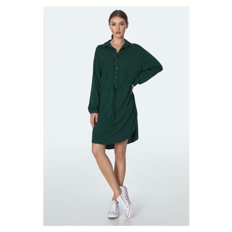Košilové Šaty s knoflíky límcem šňůrkou v pase a náprsní kapsou Nife