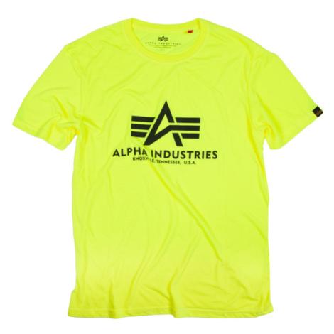 Alpha Industries Tričko Basic T-Shirt neon yellow