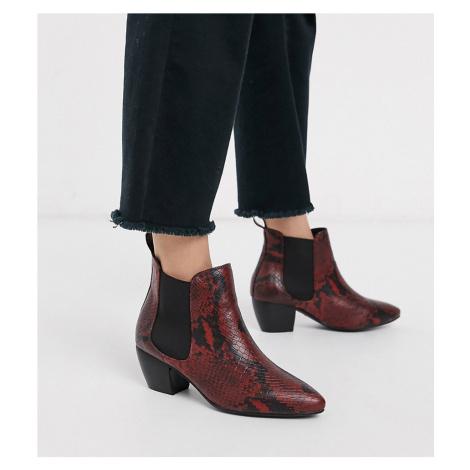 Oasis Cuban Heel Boots-Red