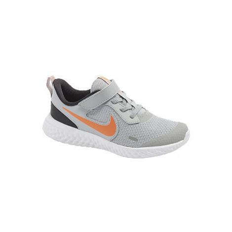 Šedé dětské tenisky na suchý zip Nike Revolution 5