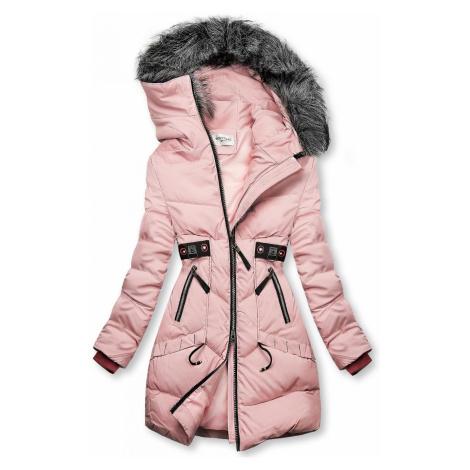 Růžová zimní bunda s černými detaily