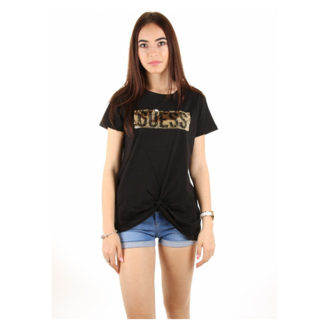 Guess dámské černé tričko s flitry