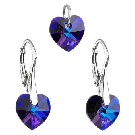 Sada šperků s krystaly Swarovski náušnice a přívěsek modrá srdce 39003.5 heliotrope Victum