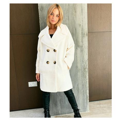 ASOS DESIGN Petite double breasted textured coat in cream