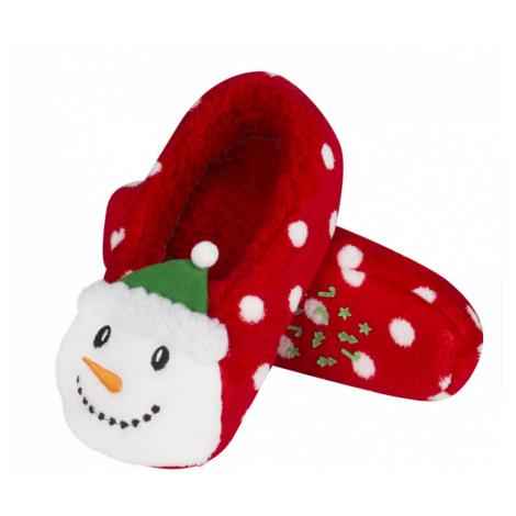 Vánoční papuče SOXO 3D - Sněhulák červená