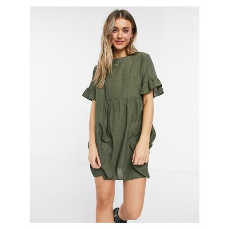 Lola May smock dress in khaki mini cord-Green