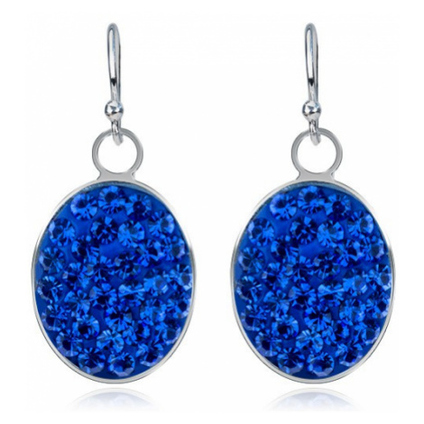 Visací náušnice ze stříbra 925 - modrý zirkonový ovál, velké Šperky eshop