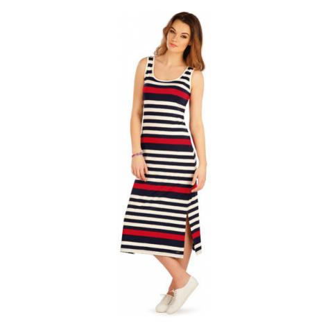 Dámské šaty dlouhé bez rukávu 5A043 | pruhy Litex