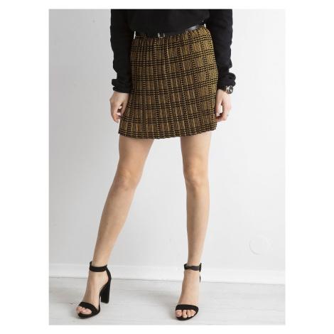 Černá a žlutá kostkovaná skládaná sukně