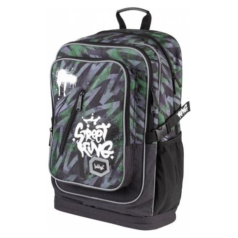 Zelenočerný voděodolný zipový školní batoh pro kluky Street king