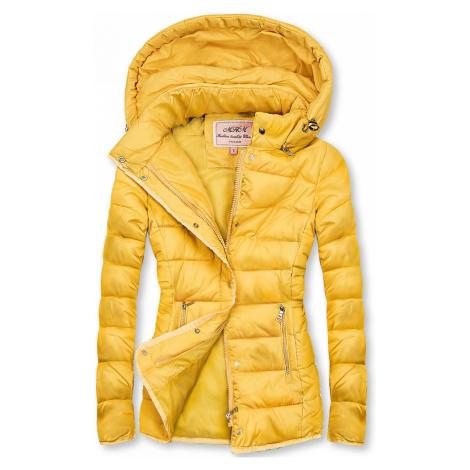 Žlutá prošívaná bunda na přechodné období Butikovo
