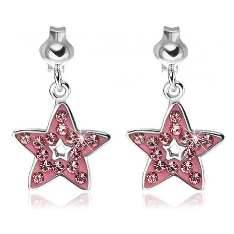 Náušnice ze stříbra 925 - přívěsek růžová hvězda se zirkony Šperky eshop