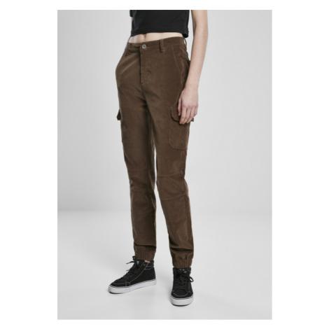 Urban Classics Ladies High Waist Cargo Corduroy Pants dark olive