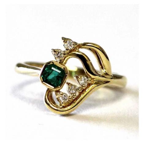 AutorskeSperky.com - Zlatý prsten o ryzosti 17.28 kt zlata se smaragdem a brilianty - S5133
