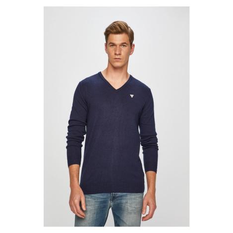 GUESS pánský tmavě modrý svetr do V