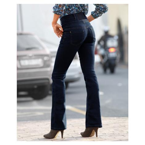 Blancheporte Džíny s vysokým pasem, střih bootcut tmavě modrá
