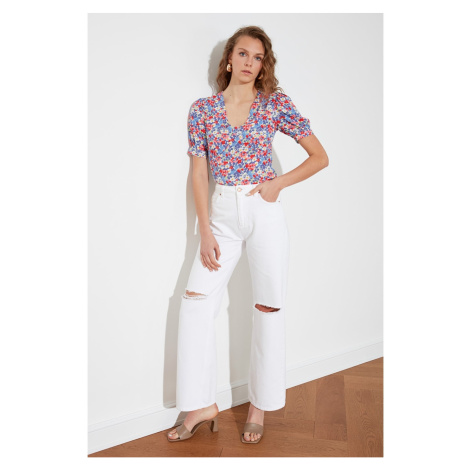 Trendyol High Waist Wide Leg Jeans WITH White Ripped DetailING