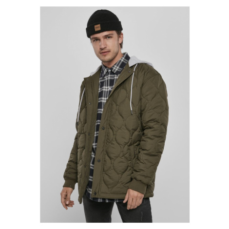 Quilted Hooded Jacket - dark olive Urban Classics