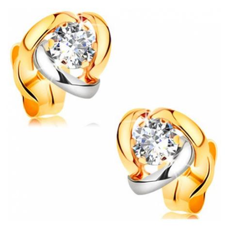 Náušnice ze žlutého 14K zlata - dvoubarevné oblouky lemující čirý zirkon Šperky eshop