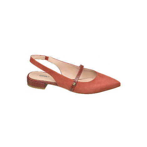 Oranžovo-hnědé slingback baleríny Esprit