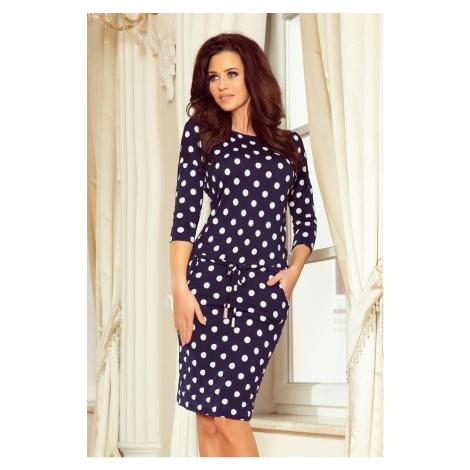Numoco šaty dámské GROVY s 3/4 rukávem a puntíky