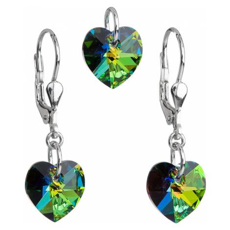 Evolution Group Sada šperků s krystaly Swarovski náušnice a přívěsek zelená srdce 39003.5