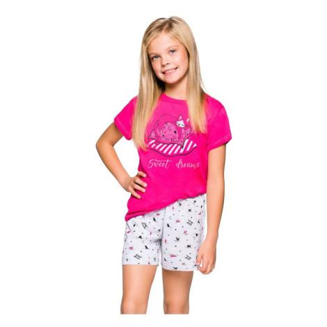 Dívčí pyžamo Hanička růžové s kočičkou Taro