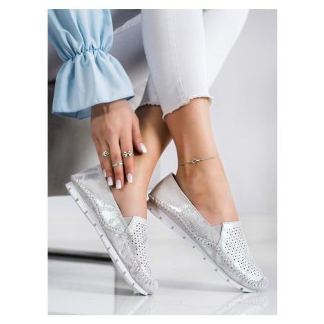 Designové šedo-stříbrné dámské polobotky bez podpatku GOODIN