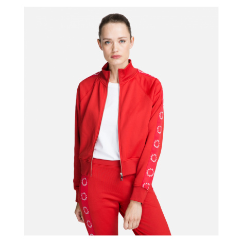 Mikina Karl Lagerfeld Circle Logo Tape Zip-Up Sweat - Červená