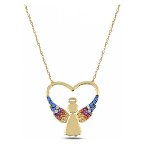 OLIVIE Stříbrný náhrdelník ZLATÉ SRDCE S ANDĚLEM 3697