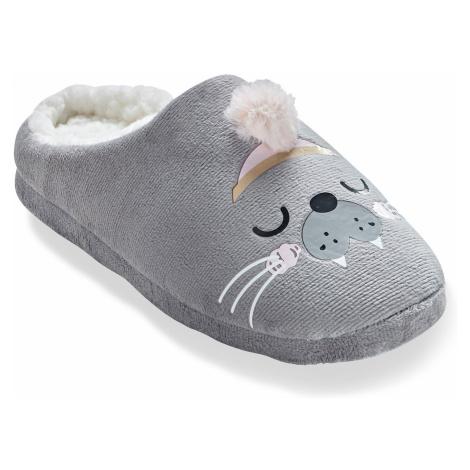 """Blancheporte Fleecové pantofle s bambulkou """"Lachtan"""" šedá"""
