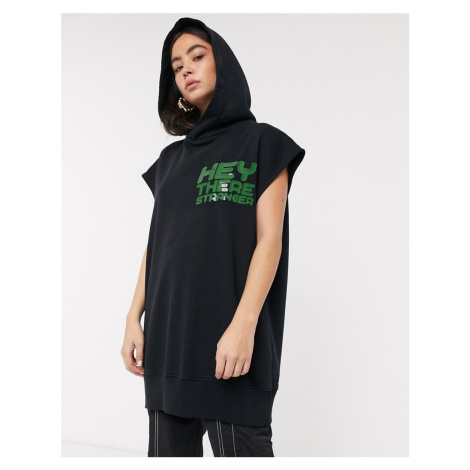 House Of Holland hey there longline sleeveless hoodie in black