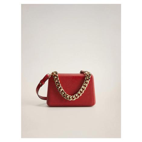 Červená crossbody kabelka s hadím vzorem Mango Estel