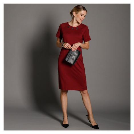 Blancheporte Jednobarevné šaty s knoflíčky bordó