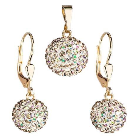Evolution Group Zlatá 14 karátová sada šperků s krystaly Swarovski náušnice a přívěsek zeleno-zl