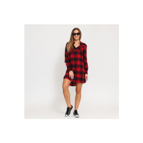 Urban Classics Ladies Check Shirt Dress červené / černé