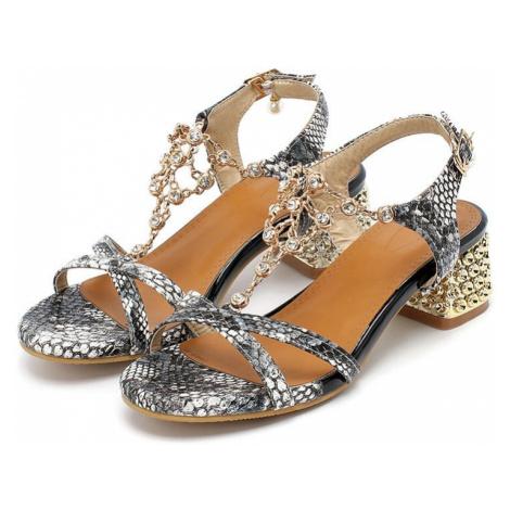 Originální vzorované sandály s plnou špičkou zvířecí vzor hadí kůže