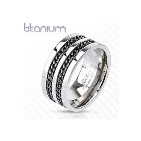 Titanový prsten - černé řetízky Šperky eshop