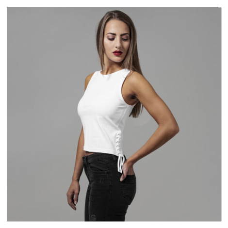 Urban Classics Ladies Lace Up Cropped Top white