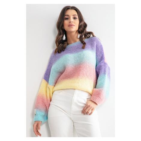 Fialovo-modrý pulovr F1162 Fobya