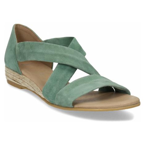 Dámské zelené kožené sandály na klínku Baťa