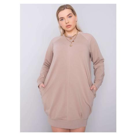 Dark beige plus size dress with long sleeves Fashionhunters