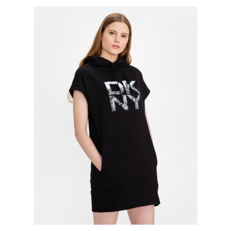 Stacked City Logo Šaty DKNY Černá