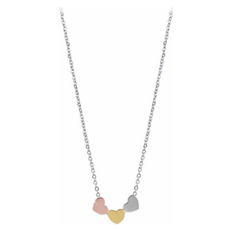 Troli Romantický bronzový náhrdelník s tricolor srdíčky