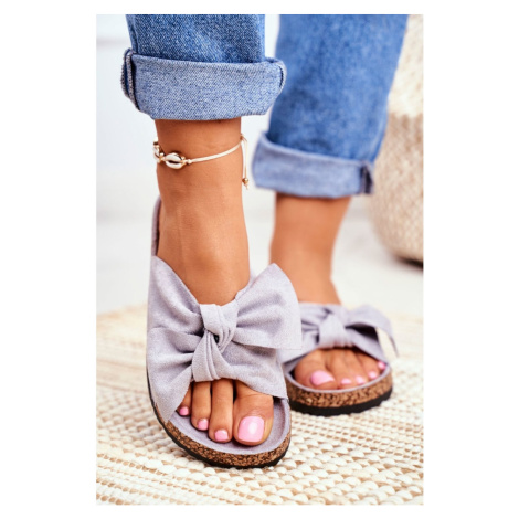 Women's Grey Flip-flops Bows Wendy Kesi