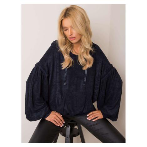 RUE PARIS Navy blue hooded sweatshirt Fashionhunters